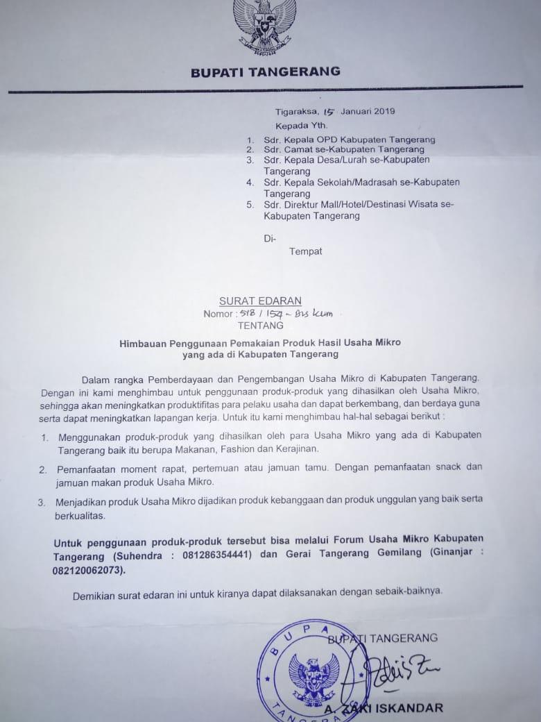 Bupati Zaki Terbitkan Surat Edaran Soal Usaha Mikro